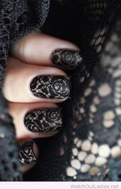 Black and nude manicure with lace