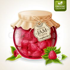 Buy Blackberry Jam Glass by macrovector on GraphicRiver. Natural organic homemade forest blackberry jam in glass jar with tag and paper cover vector illustration. Food Clipart, Homemade Strawberry Jam, Organic Homemade, Jar Design, Retro Background, Jam And Jelly, Jam Jar, Decoupage Paper, Raspberries