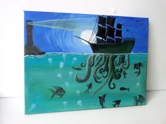 Tentacle Pirate Ship in the Full Moon  by TryingNotToHibernate, £30.00