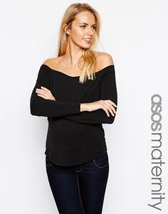 ASOS Maternity Bardot Top with Long Sleeves
