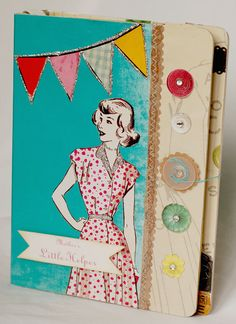 cute retro feel  Altered board book