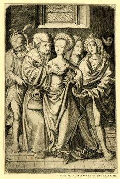 1500-1520 Ill-matched love; five whole-length figures in an interior; an old man caressing a young woman who is stealing coins from his purse to pass them on to a young man at right; at far left a fool, in background an old woman. Engraving Germany