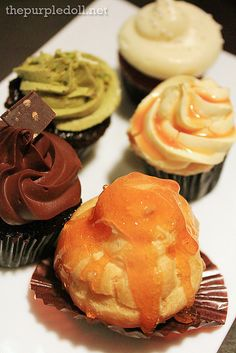 Cream Puff, Chocolate Fondant, Caramel Cream, Pistachio Chocolate, Red Velvet by purpledoll, via Flickr