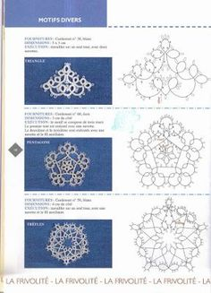 3 Tatting Motifs with pattern charts***Top motif - crown? Tatting Earrings, Tatting Jewelry, Tatting Lace, Shuttle Tatting Patterns, Needle Tatting Patterns, Lace Patterns, Knitting Patterns, Crochet Patterns, Dress Patterns