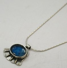 "Hamsa #""roman glass"" pendant 39 USD http://www.bluenoemi-jewelry.com/hamsa-roman-glass-pendant.html"
