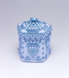 Pentagon blue box with a lid made knitting beads