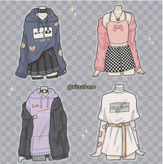 Teen Fashion Outfits, Anime Outfits, Retro Outfits, Cute Casual Outfits, Fashion Art, Cute Art Styles, Cartoon Art Styles, Fashion Design Drawings, Fashion Sketches