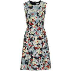 Erdem Short Dress ($850) ❤ liked on Polyvore featuring dresses, dark blue, no sleeve dress, short dresses, erdem, deep blue dress and sleeveless short dress