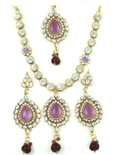 Engagement & Wedding Bridal & Wedding Party Jewelry Adroit Studded Designer Semi Bridal Polki Jewellery Necklace Set With Clear Red Stones