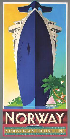 Nice Original 1980s Norwegian Cruise Line Travel Poster