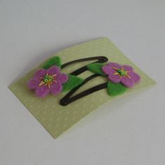 lilac felt flower hair clips by Lybo on Etsy, £3.00