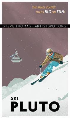 Ski Pluto! Check out this full retro space travel series by Steve Thomas.