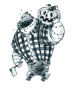 Inktober Undead Zombie Lumberjack by RobbVision.deviantart.com on @deviantART