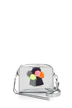 Mini Sofia Crossbody - The Mini Sofia Crossbody you know and love,now with pom poms. Because, pure and simple, pom poms are fun. Sling this camera bag messenger style to go hands free or unclip the detachable strap and work it as a little clutch.