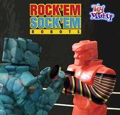Rock'em Sock'em Robots – here's a little somethin' to knock your socks off! A MashUp by Ruth Green Synowic, toy and game inventor, the creative force behind theToy MashUp, a fun contest on the Chicago Toy and Game Fair facebook page. :)