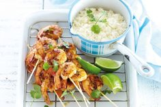 Asian-inspired Christmas lunch: Coconut, lime and chilli barbecued prawns Barbecued Prawns, Bbq Prawns, Chilli Prawns, Healthy Prawn Recipes, Fish Recipes, Seafood Recipes, Asian Recipes, Cooking Recipes, Barbecue Recipes