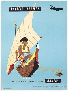 Old Original 1950s QANTAS Travel Poster PACIFIC ISLANDS
