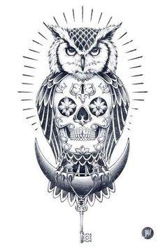Owl, skull, moon, key (tattoo)