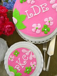 Lilly Pulitzer inspired monogrammed cakes ~ My Sweet Things