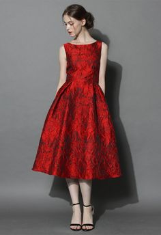 Red Glamour Embossed Prom Dress - Valetines - Trend and Style - Retro, Indie and Unique Fashion