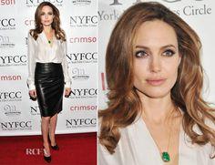 www.CelebrityInTraining.com  Angeline Jolie Pencil Skirt Ferragamo