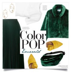 """""""Emerald City: Pops of Green"""" by myownlittleworldss ❤ liked on Polyvore featuring T By Alexander Wang, Forever 21, Prada and Lewit"""