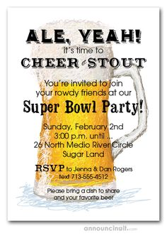 A full beer glass is ready for Super Bowl party guests on these Draft Beer Super Bowl Party Invitations. Perfect for any sports theme invitations, birthday party invitations, and Super Bowl invitations Cocktail Party Invitation, Birthday Party Invitations, Football Invitations, Party Guests, Youre Invited, Beer, Glass, Collection