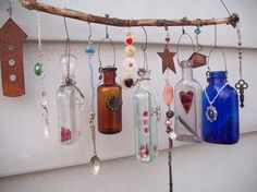 Bottle Chime/Vintage Bottles Embellished with Found Objects, buttons beads, etc. 2nd OOAK
