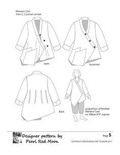 Marama Coat, womens PDF sewing pattern – Boho Banjo art to wear Pdf Sewing Patterns, Clothing Patterns, Print Patterns, Pattern Ideas, Dress Patterns, Sewing Lessons, Sewing Hacks, Sewing Tips, Sewing Ideas