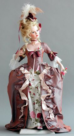 ''Caroline'' by Silvia Opderbeck: 18th-centrury style, whole-porcelain doll, with handmade crystal-glass eyes & human-hair wig. Robe à la française with Watteau pleat created from old patterns, in silk taffeta with silk ribbons, cotton-tulle lace, pearls & flowers. Handmade shoes.