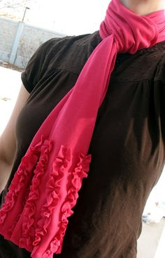 Jersey ruffle scarf tutorial