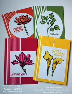 handmade notecard set by Kirsten Aitchison ... great design for quick cards ... each in a different monochrome color ...