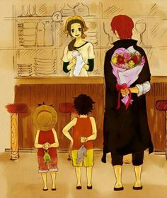 Makino, Shanks, Ace, Luffy, young, childhood, funny, text, flowers, frog, rat; One Piece