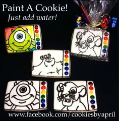 Paint a cookie - just add water! Paint dry icing dots with food coloring then let dry. Place on cookie with an outlined graphic.