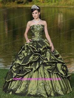 olive green quinceanera dress