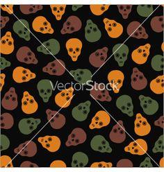 Seamless pattern of skulls on a dark background vector - by elenapro on VectorStock®