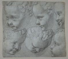 Francesco Morandini (Il Poppi), c.1544-1597, Italian, Studies of an infant head, after a cast, 1572-74.   Black chalk on blue paper, 15.9 x 17.8 cm.  Metropolitan Museum of Art, New York.  Mannerism.