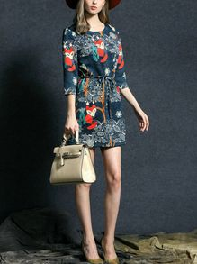 Fox Print Self-Tie Dress