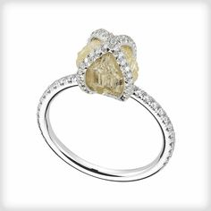 Truly one of a kind rough diamond ring from Embrace collection-luxury jewelry by Diamond in the Rough    #weddingrings #uniquering #artjewelry #luxury