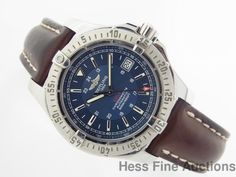 Massive Breitling Chronometer A17380 Men's Diver Blue Dial Automatic Watch