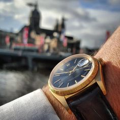 Rolex Datejust, Reference with black tapestry dial in a yellow gold case with a bark finished bezel, late Vintage Rolex, Vintage Watches, Rolex Datejust, Omega Watch, Amsterdam, 1970s, Tapestry, Yellow, My Style