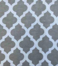 Snuggle Flannel Fabric Grey Moroccan
