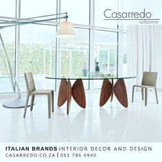 A sculpture dedicated to everyday activities an object capable of adding intensity to a domestic setting. Designed with painstaking care for detail and choice materials Vanessa is a fixed table characterised by a transparent glass table top available in different shapes and sizes; the legs with the evocative butterfly shape are made of multi-laminar walnut-painted wood.  www.casarredo.co.za . 011 786 6940 Bowling Avenue Kramerville entrance 35 Commerce Crescent JHB  SA  #casarredo…