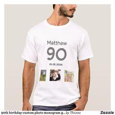 90th birthday custom photo monogram guy T-Shirt 90th Birthday Parties, Monogram T Shirts, Boys T Shirts, Custom Photo, Guys, Men, 50th, Summer, Summer Time