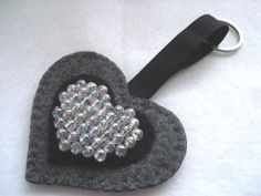 Black Felt Beaded Heart Shape Key Ring Felt by BerryNiceCushions, £3.00