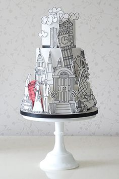 Rachelles Beautiful Bespoke Cakes city London New York Chicago black white - accent w- red bright color architectural fondant shower birthday wedding sugarpaste or pastillage on fondant covered double barrel