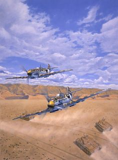 ME 109 Messerschmidt Aces by Larry Selman, original in Private Collection