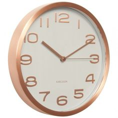 Karlsson Maxie White Wall Clock with Copper Case & Numbers
