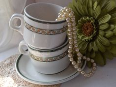 Royal Doulton Country Club, Tea Cups and Saucers x 4 Tea Sets Vintage, Great Housewarming Gifts, Money Box, Royal Doulton, Wedgwood, Cup And Saucer, Tea Time, House Warming, Wedding Gifts