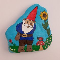 Gnome with Flower and Lady Bug Art Painted Rock